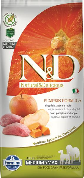 Farmina N&D dog GF PUMPKIN adult medium&maxi boar&apple 2,5 kg