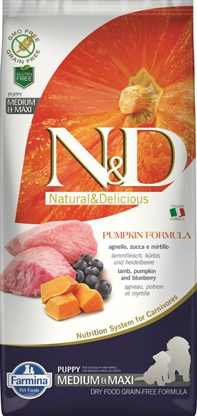 Farmina N&D dog GF PUMPKIN puppy medium&maxi lamb&blueberry 2,5 kg