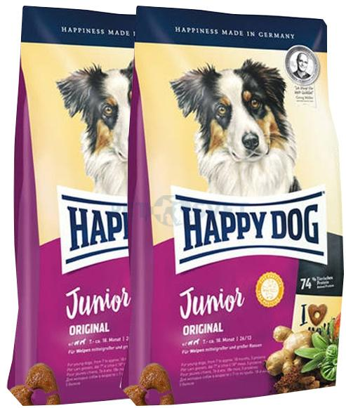 2xHappy Dog Original Medium&Maxi Junior 10 kg + DOPRAVA ZDARMA