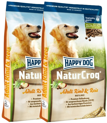 2x Happy Dog NaturCroq Original Rind&reis 15 Kg + DOPRAVA ZDARMA