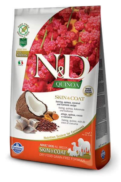 Farmina N&D dog GF QUINOA Skin&Coat Herring 7 kg + DOPRAVA ZDARMA