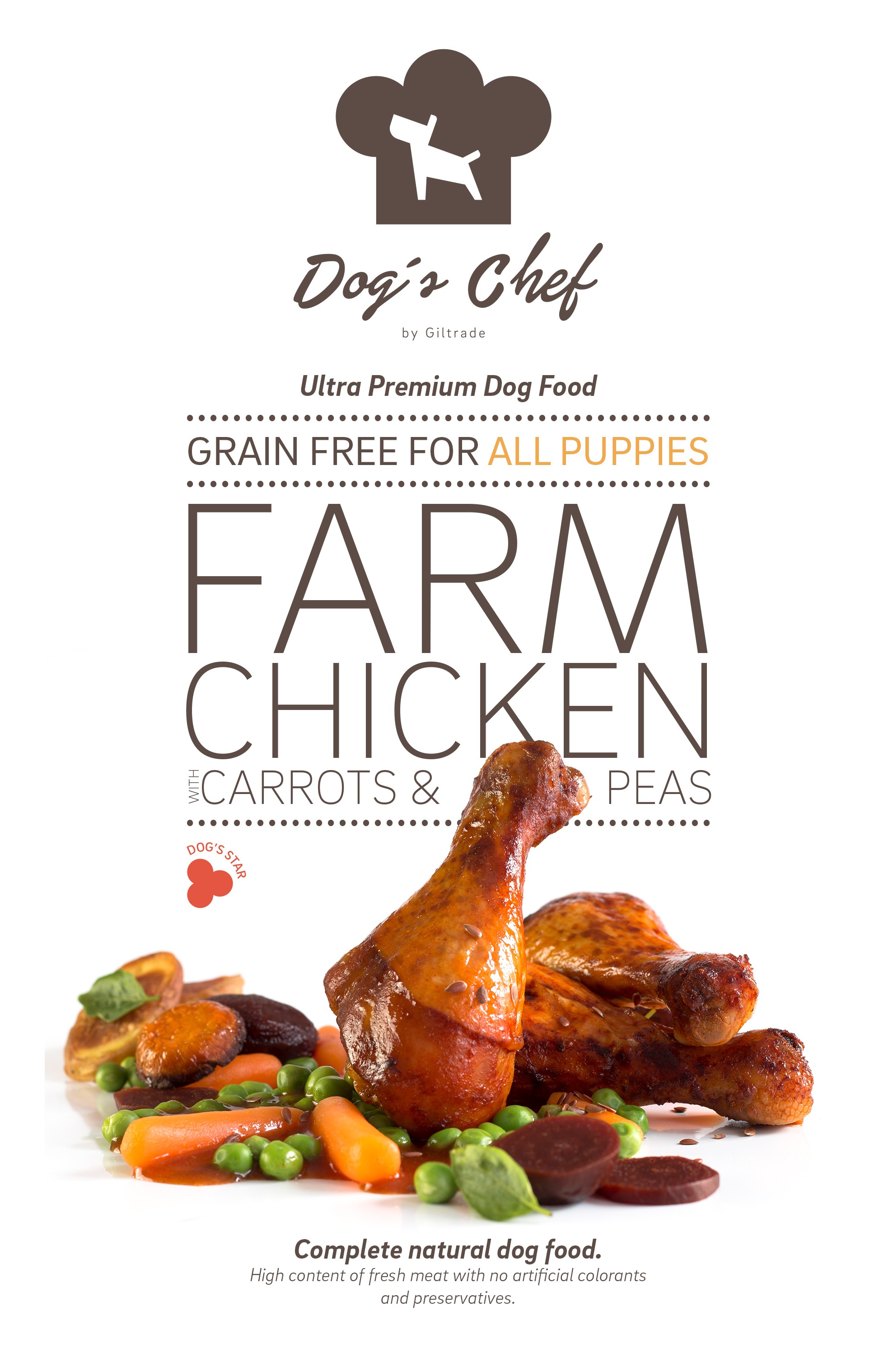 DOG'S CHEF Farm Chicken for ALL PUPPIES 15 kg + DOPRAVA ZDARMA