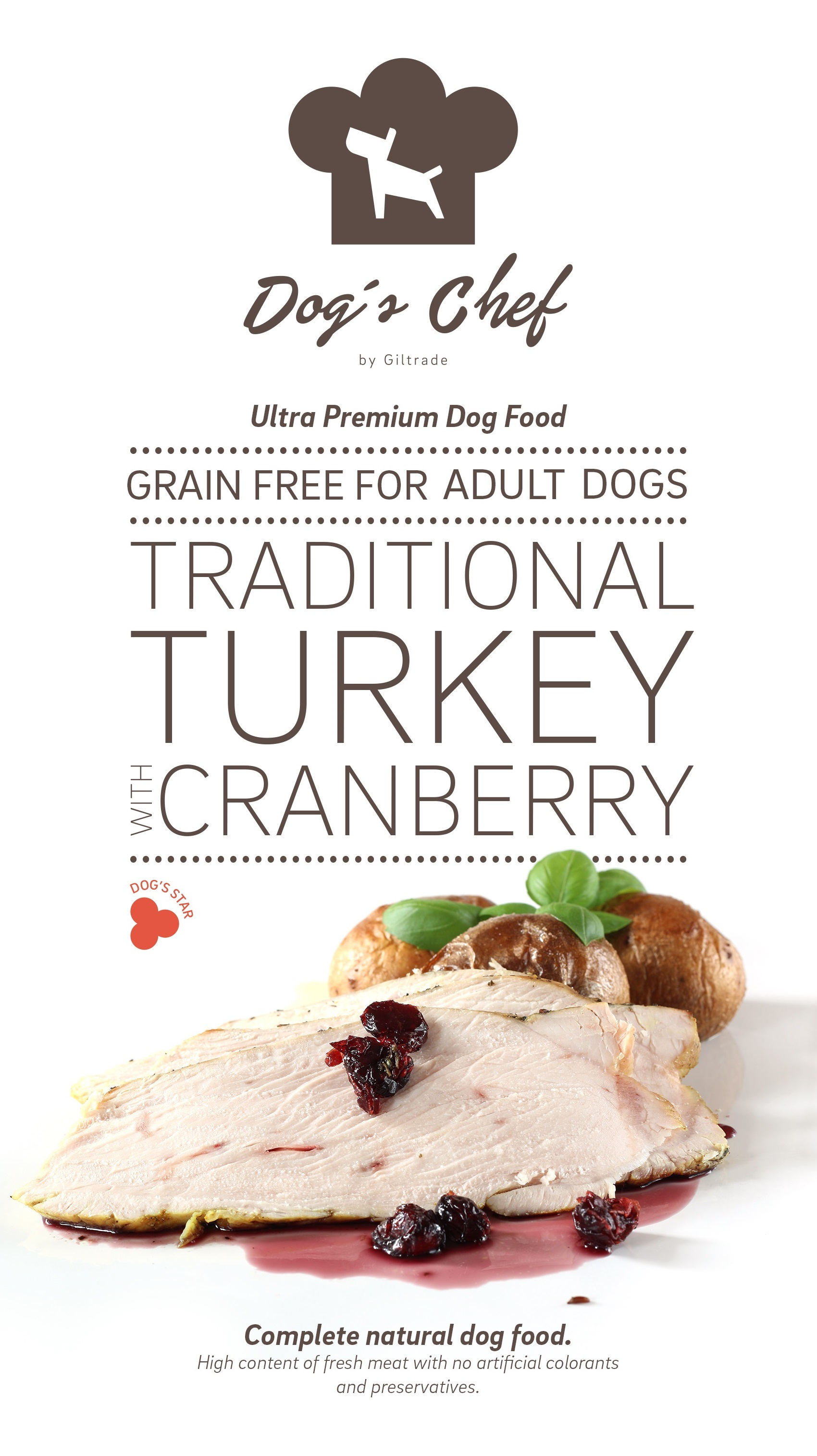 DOG'S CHEF Traditional Turkey with Cranberry 15 kg + DOPRAVA ZDARMA