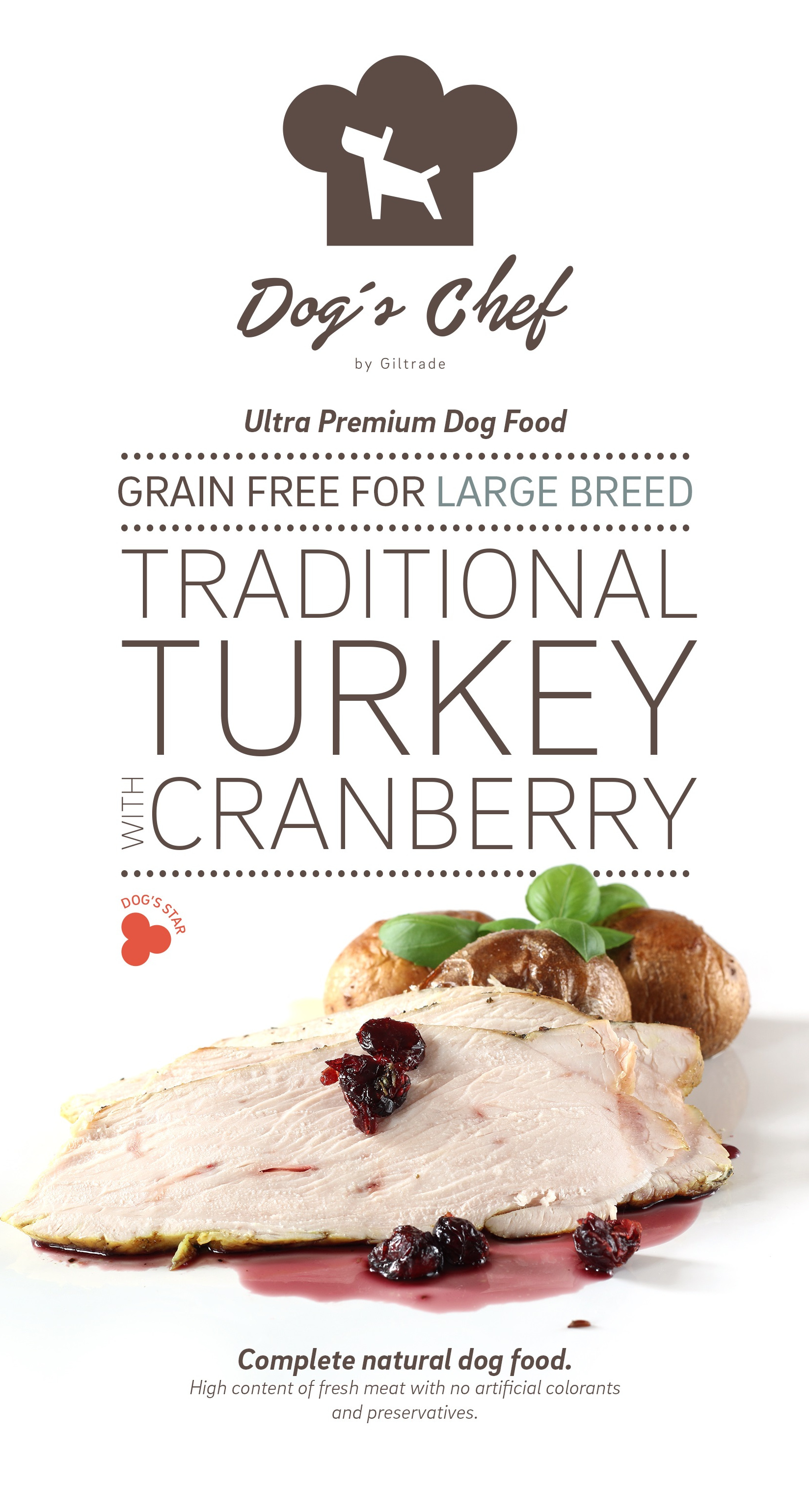 DOG'S CHEF Traditional Turkey with Cranberry for LARGE B 15 kg + DOPRAVA ZDARMA