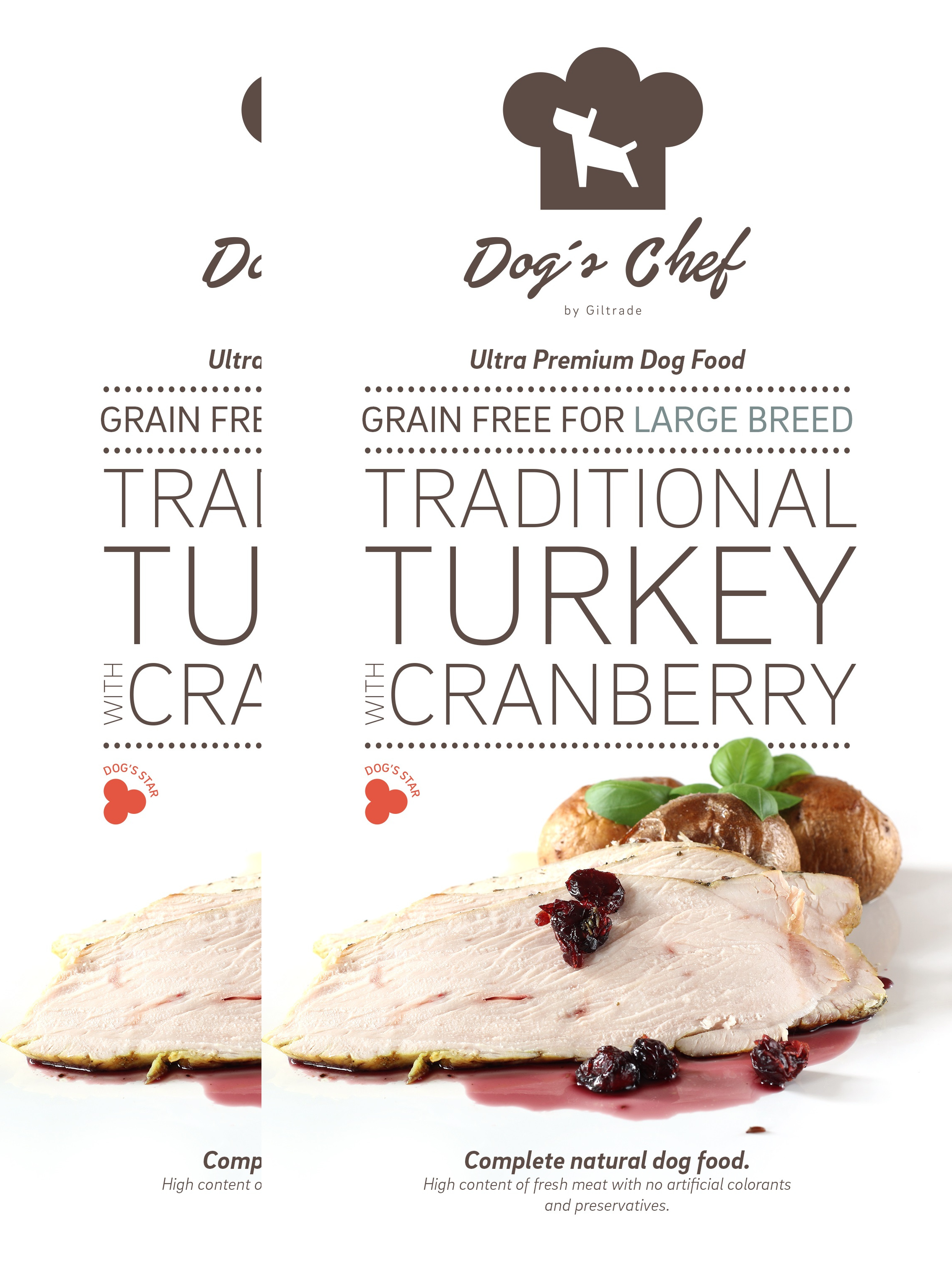 2x DOG'S CHEF Traditional Turkey with Cranberry for LARGE 15 kg + DOPRAVA ZDARMA