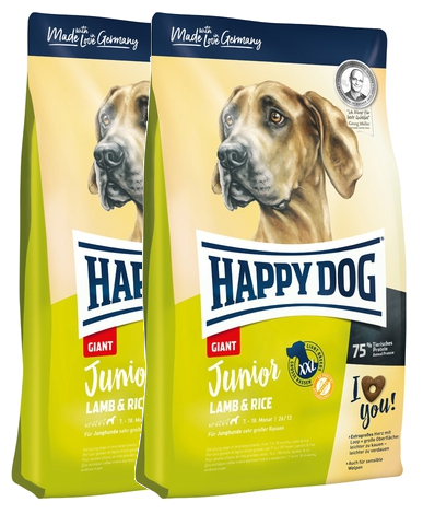 2x Happy Dog Junior Giant Lamb & Rice 15 + DOPRAVA ZDARMA