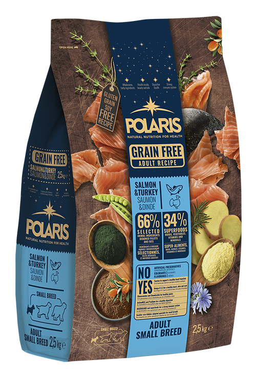 Polaris dog Grain Free Adult Small Breed  Salmon & Turkey 2,5 kg